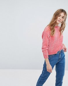 Read more about New look velour chenille crop jumper - bright pink
