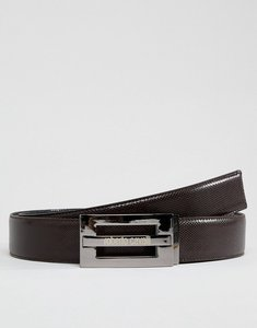 Read more about Roberto cavalli skinny logo leather belt - brown
