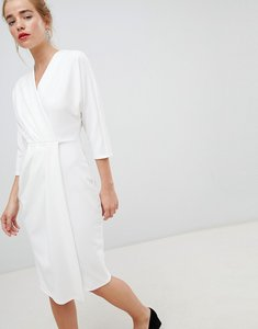 Read more about Closet london wrap pencil dress in white - white