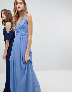Read more about Tfnc wrap front maxi bridesmaid dress with tie back - bluebell