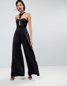 Read more about Asos jumpsuit with knot front and cowl back - black
