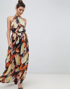 Read more about Y a s tropical print halter maxi dress - multi