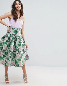 Read more about Asos prom skirt with deep basque in floral jacquard - multi