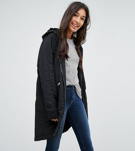 Read more about Asos tall midi rain jacket with faux fur liner - black