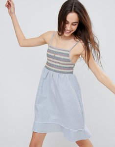 Read more about Brave soul sandra cami dress with multi-colour shirring - blue white