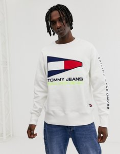 Read more about Tommy jeans 90s sailing capsule flag logo crew neck sweatshirt in white - bright white