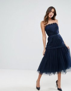 Read more about Asos strapless panelled drop waist tulle midi dress - navy