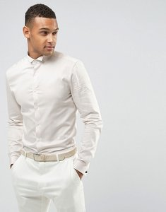 Read more about Asos wedding skinny sateen shirt in off white with wing collar and double cuff - off white