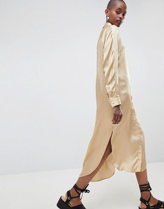Read more about Asos white oversized satin western dress - stone
