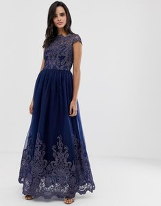 Read more about Chi chi london premium lace embroidered maxi prom dress with bardot neck in navy