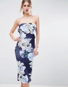 Read more about Asos floral asymmetric ruffle bandeau midi dress - multi