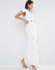 Read more about Asos red carpet ruffle maxi dress with metal belt - ivory
