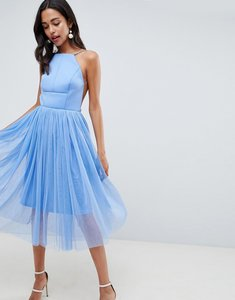 Read more about Asos design premium scuba pinny midi tulle dress - blue