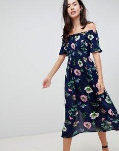 Read more about Brave soul lavender off shoulder midi dress in floral print - navy