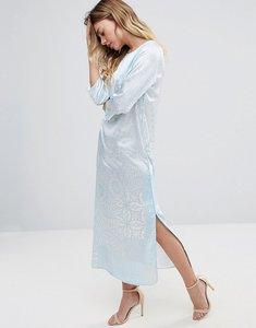 Read more about Traffic people 3 4 sleeve printed maxi dress - white blue