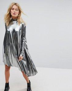 Read more about Weekday metallic assymetrical dress - black silver