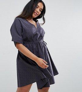 Read more about Asos curve v front v back smock dress with ruched tie detail - washed black