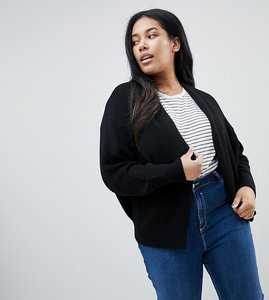Read more about Asos design curve eco chunky cardigan with volume sleeve - black