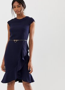 Read more about Paper dolls high neck wrap pencil dress with frill detail