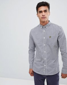 Read more about Lyle scott slim fit buttondown gingham check shirt with stretch in navy - navy