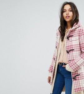 Read more about Gloverall exclusive classic mid length duffle in pink check - check pink