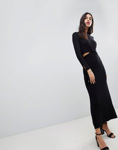 Read more about Asos design maxi dress with long sleeve and cut outs - black