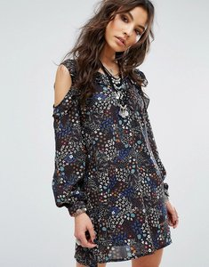 Read more about Glamorous festival cold shoulder dress in ditsy floral print - multi