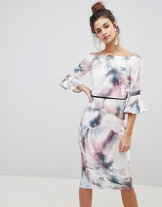 Read more about Little mistress printed flute sleeve dress - multi