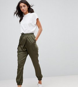 Read more about Asos tall woven wrap front utility jogger with clean cuff - khaki