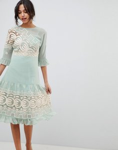 Read more about Asos design premium crochet insert midi dress - mint green