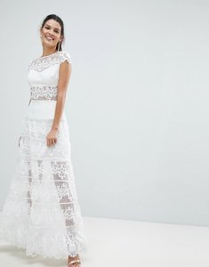 Read more about Bronx and banco lace panel maxi dress - white