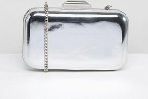 Read more about Dune silver metallic box clutch with chain strap - silver