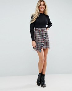 Read more about Asos check boucle mini skirt with wrap detail - multi