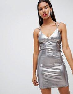 Read more about Strappy liquid metallic mini dress - silver