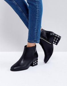 Read more about London rebel silver stud mid heel ankle boot - black pu