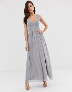 Read more about Little mistress tulle maxi dress with side split and lace detail
