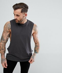 Read more about Asos longline vest with extreme dropped armhole in grey - bal