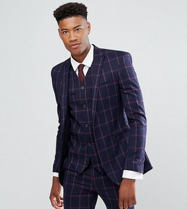 Read more about Asos tall super skinny suit jacket in navy and pink windowpane check - navy