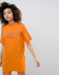 Read more about Monki fringe t-shirt dress - orange