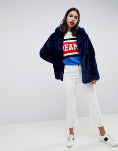 Read more about Asos design faux fur coat with collar detail - navy