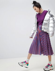 Read more about Pull bear pleated stripe midi skirt - multi