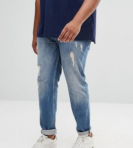 Read more about Asos plus stretch slim in mid blue with rips abrasions - mid wash blue