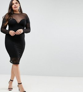 Read more about Asos curve long sleeve midi lace bodycon dress with contrast mesh - black
