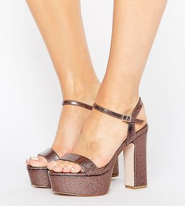 Read more about Asos higher love wide fit platform sandals - multi glitter patent