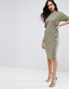 Read more about Asos midi t-shirt dress with corset detail - khaki