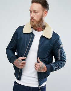Read more about Schott pilote nylon bomber jacket detachable faux fur collar slim fit in navy - navy
