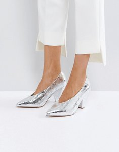 Read more about Asos shiraz pointed heels - silver snake