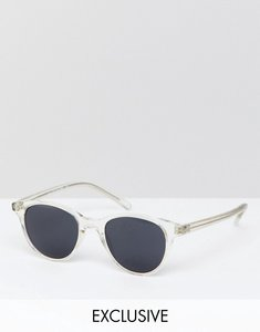 Read more about Reclaimed vintage inspired round sunglasses in clear exclusive to asos - clear
