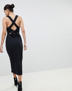Read more about Fashion union ribbed midi dress with tie back detail - black