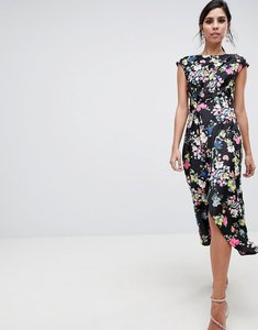Read more about Asos design drape midi dress in dark floral - multi